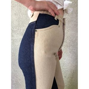 [vintage] color block ultra high waist jeans